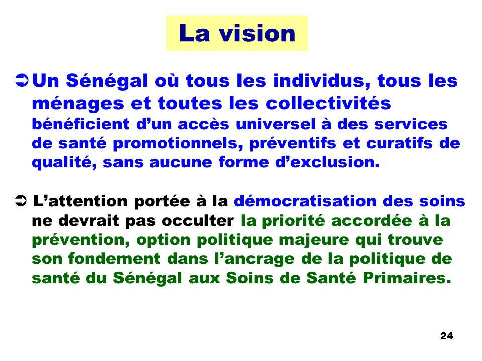 La vision Un Sénégal où tous les individus, tous les ménages et toutes les collectivités bénéficient dun accès universel à des services de santé promo