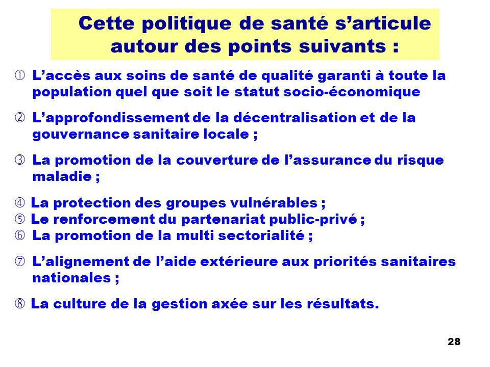 29 Politique nationale Santé « Au total » Indépendant depuis août 1960, le Sénégal a attendu 1989 pour tracer les grandes lignes de son action sanitaire .
