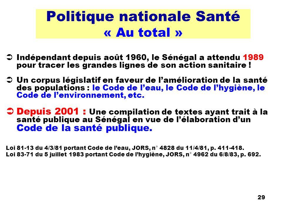 29 Politique nationale Santé « Au total » Indépendant depuis août 1960, le Sénégal a attendu 1989 pour tracer les grandes lignes de son action sanitai
