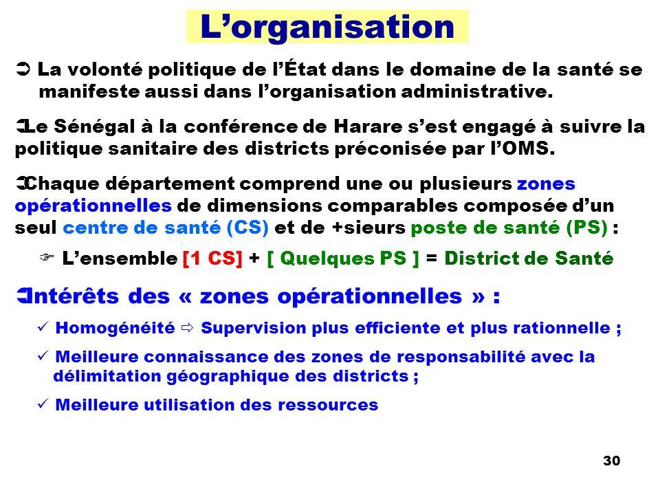 30 Lorganisation La volonté politique de lÉtat dans le domaine de la santé se manifeste aussi dans lorganisation administrative. Le Sénégal à la confé