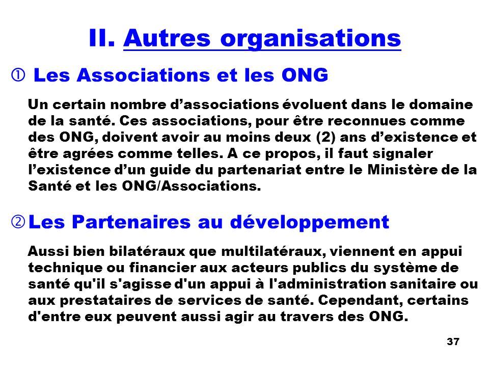 II. Autres organisations Les Associations et les ONG Un certain nombre dassociations évoluent dans le domaine de la santé. Ces associations, pour être