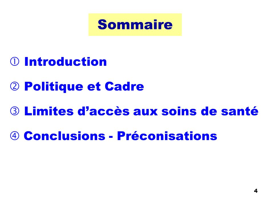 Sommaire Introduction Politique et Cadre Limites daccès aux soins de santé Conclusions - Préconisations 4