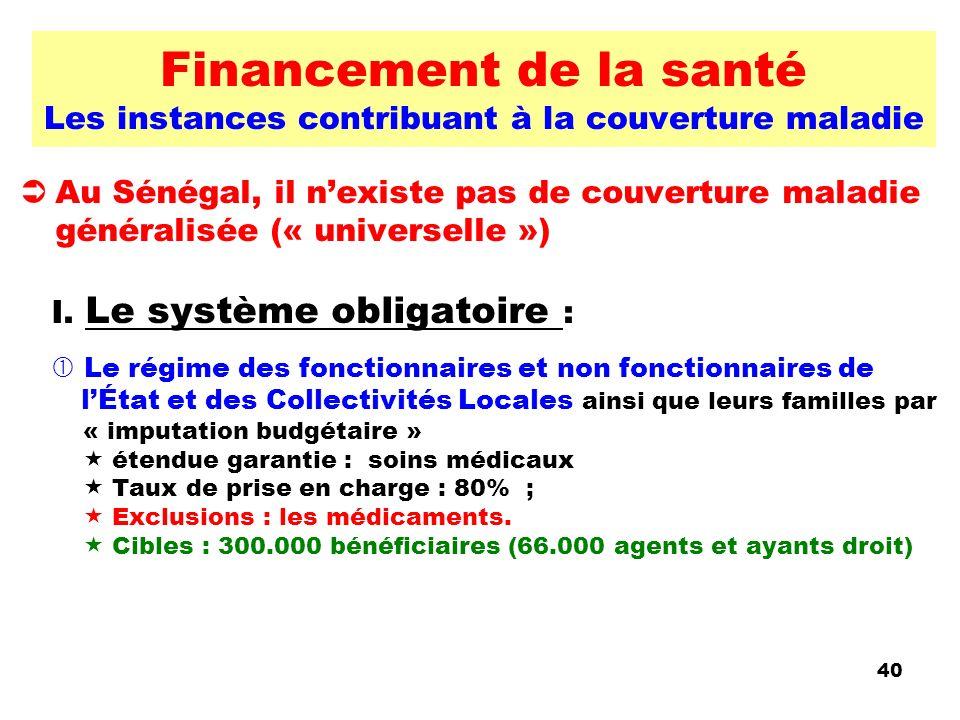 Financement de la santé Les instances contribuant à la couverture maladie Au Sénégal, il nexiste pas de couverture maladie généralisée (« universelle