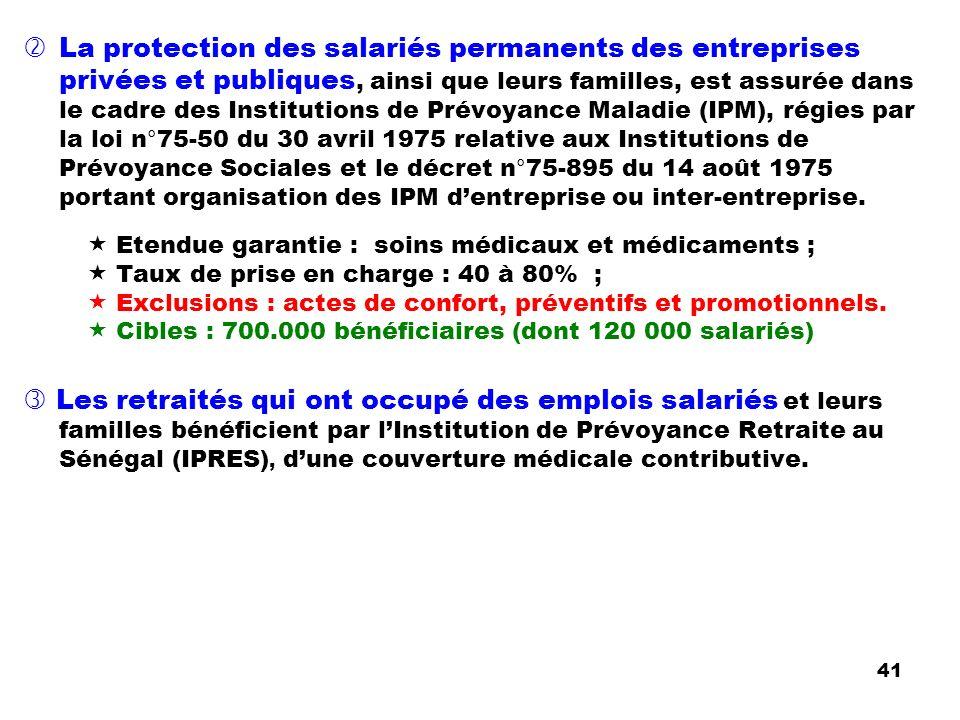 La protection des salariés permanents des entreprises privées et publiques, ainsi que leurs familles, est assurée dans le cadre des Institutions de Pr