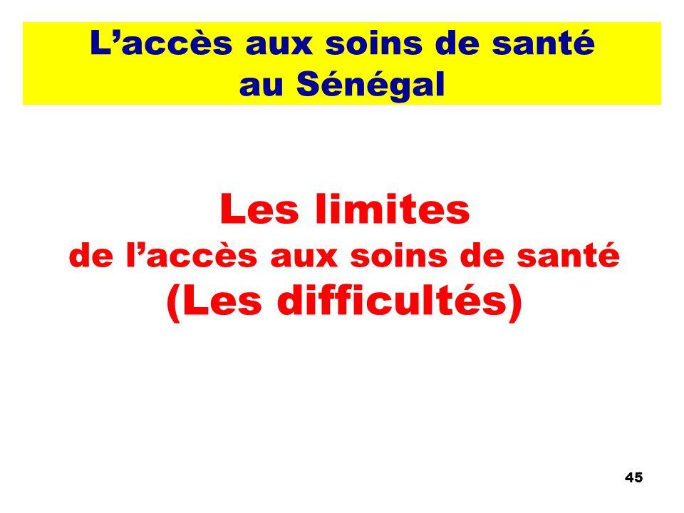 Laccès aux soins de santé au Sénégal Les limites de laccès aux soins de santé (Les difficultés) 45