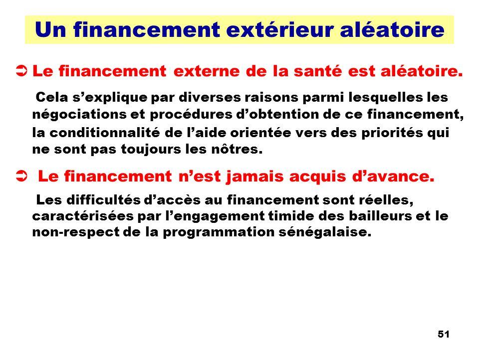 51 Un financement extérieur aléatoire Le financement externe de la santé est aléatoire. Cela sexplique par diverses raisons parmi lesquelles les négoc