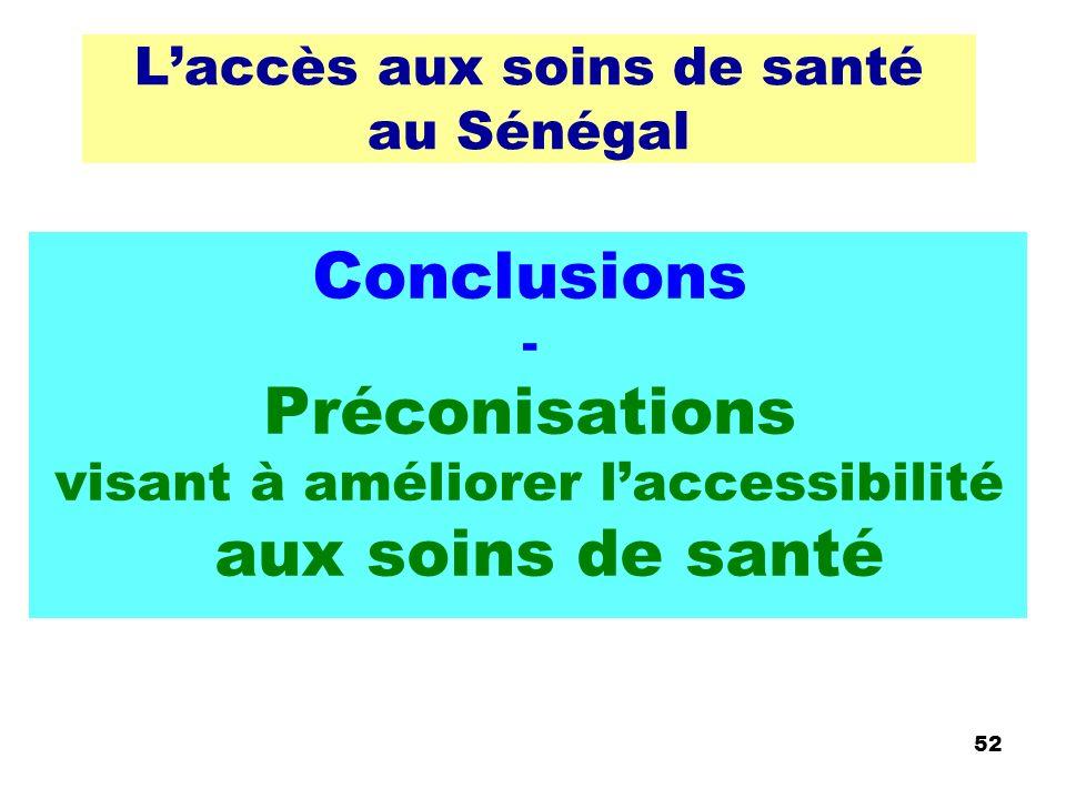 Laccès aux soins de santé au Sénégal Conclusions - Préconisations visant à améliorer laccessibilité aux soins de santé 52