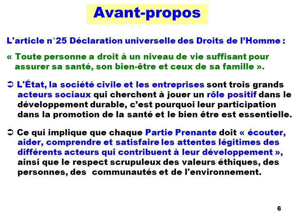 Avant-propos L'article n°25 Déclaration universelle des Droits de lHomme : « Toute personne a droit à un niveau de vie suffisant pour assurer sa santé