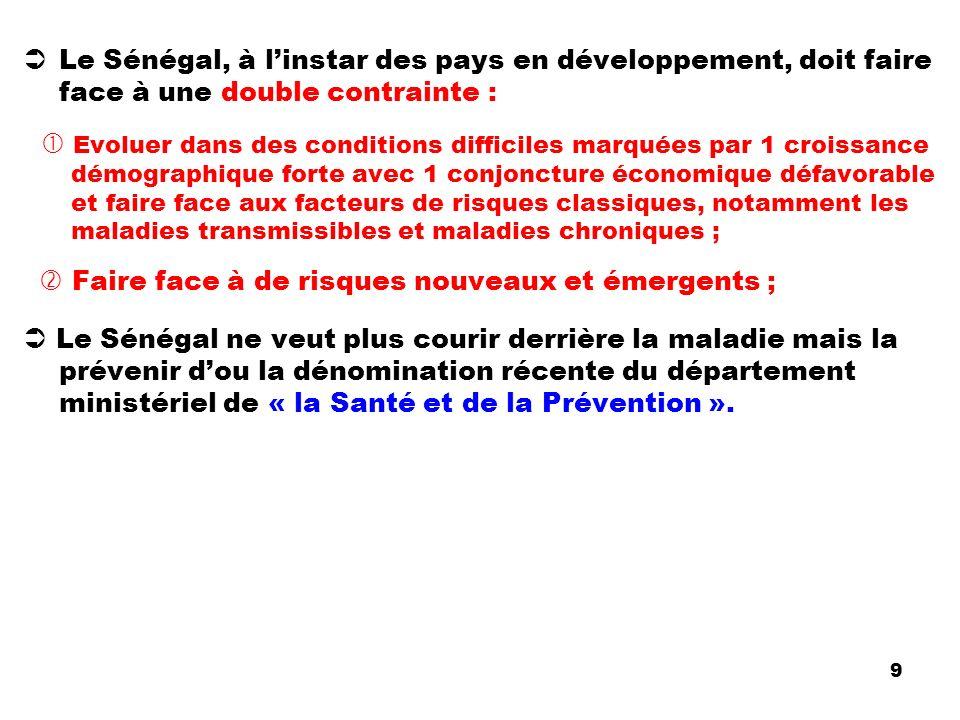 Le Sénégal, à linstar des pays en développement, doit faire face à une double contrainte : Evoluer dans des conditions difficiles marquées par 1 crois