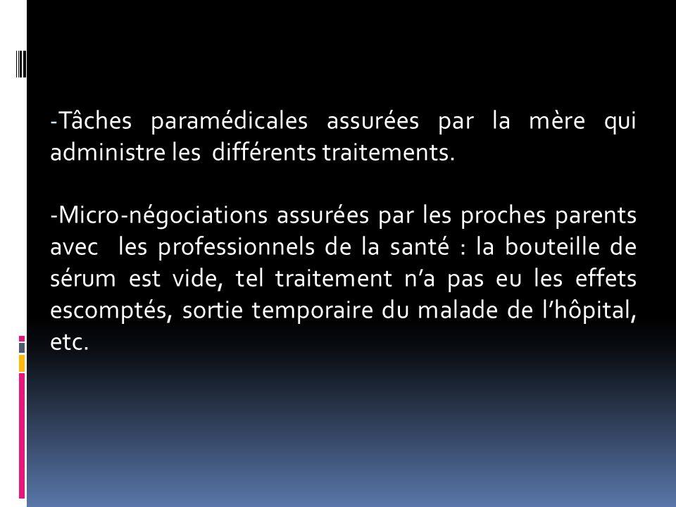 - Tâches paramédicales assurées par la mère qui administre les différents traitements. -Micro-négociations assurées par les proches parents avec les p