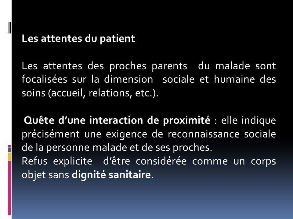 Les attentes du patient Les attentes des proches parents du malade sont focalisées sur la dimension sociale et humaine des soins (accueil, relations,