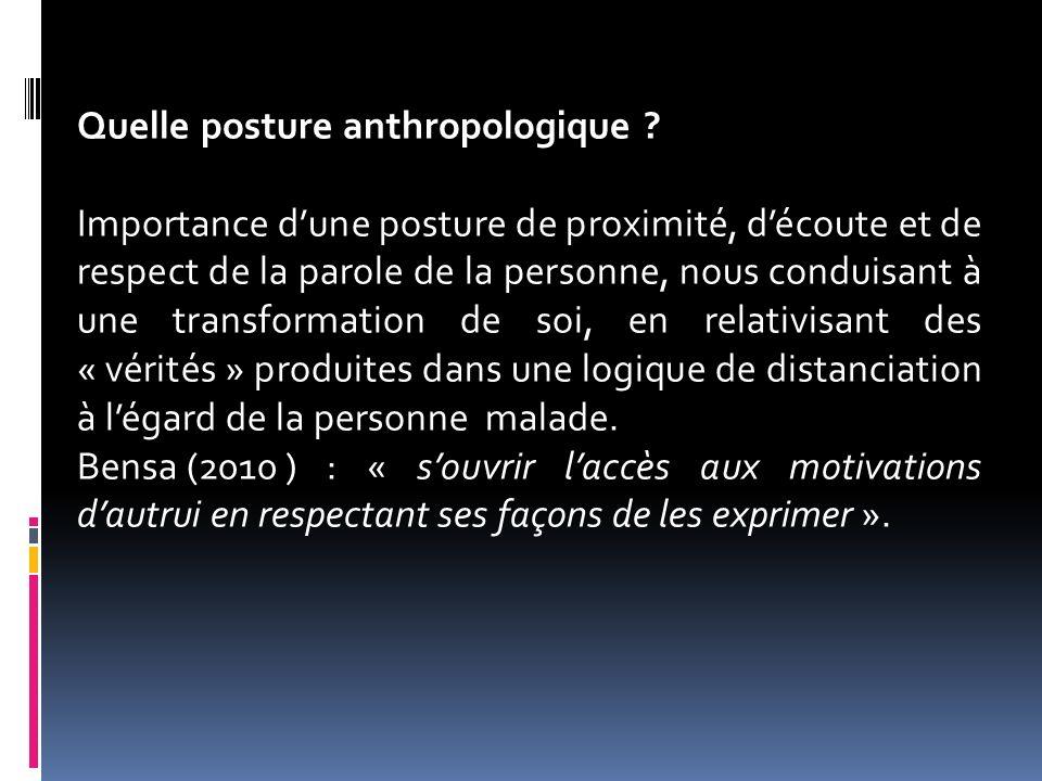 Quelle posture anthropologique ? Importance dune posture de proximité, découte et de respect de la parole de la personne, nous conduisant à une transf