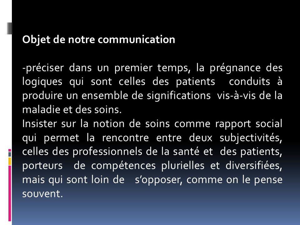 Objet de notre communication -préciser dans un premier temps, la prégnance des logiques qui sont celles des patients conduits à produire un ensemble d