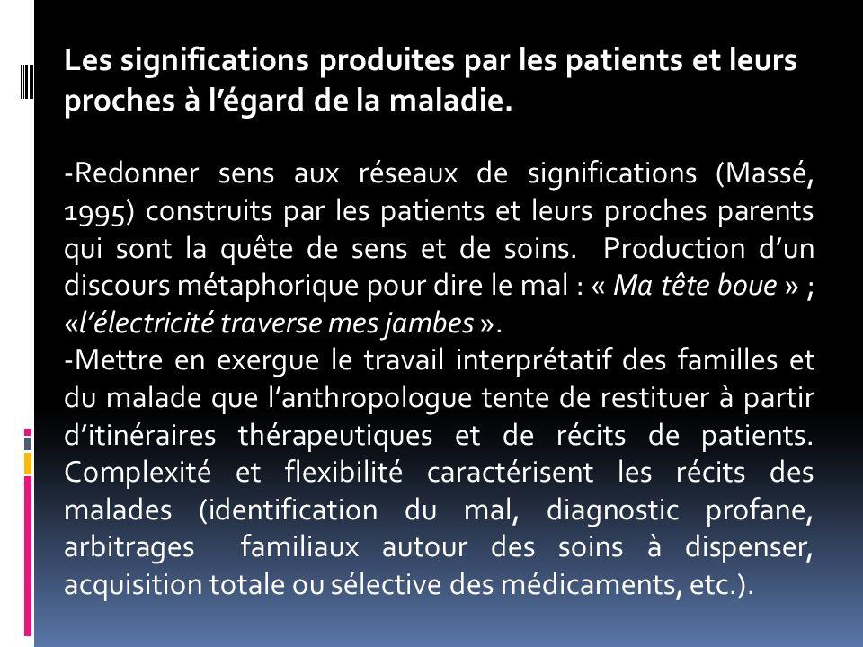 Les significations produites par les patients et leurs proches à légard de la maladie. -Redonner sens aux réseaux de significations (Massé, 1995) cons