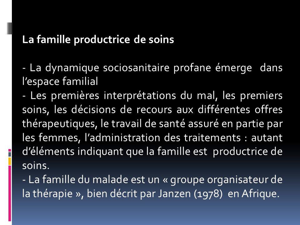 La famille productrice de soins - La dynamique sociosanitaire profane émerge dans lespace familial - Les premières interprétations du mal, les premier