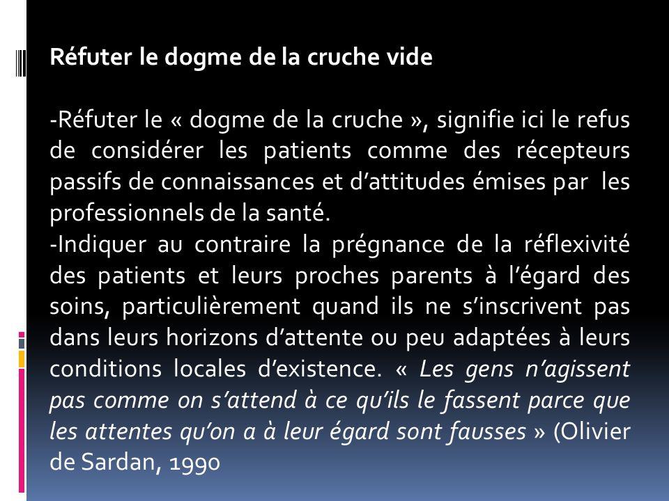 Réfuter le dogme de la cruche vide -Réfuter le « dogme de la cruche », signifie ici le refus de considérer les patients comme des récepteurs passifs d