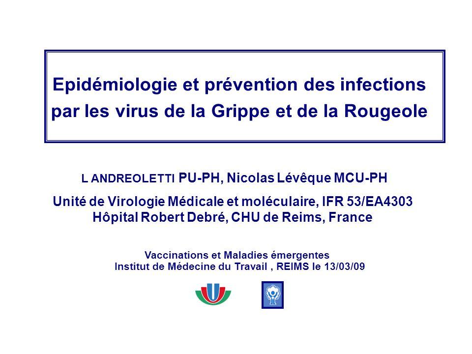Epidémiologie et prévention des infections par les virus de la Grippe et de la Rougeole L ANDREOLETTI PU-PH, Nicolas Lévêque MCU-PH Unité de Virologie
