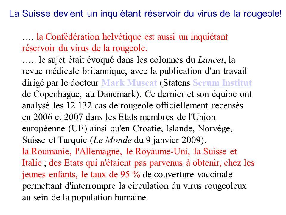 La Suisse devient un inquiétant réservoir du virus de la rougeole! …. la Confédération helvétique est aussi un inquiétant réservoir du virus de la rou