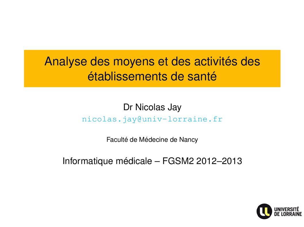 titre Analyse des moyens et des activités des établissements de santé