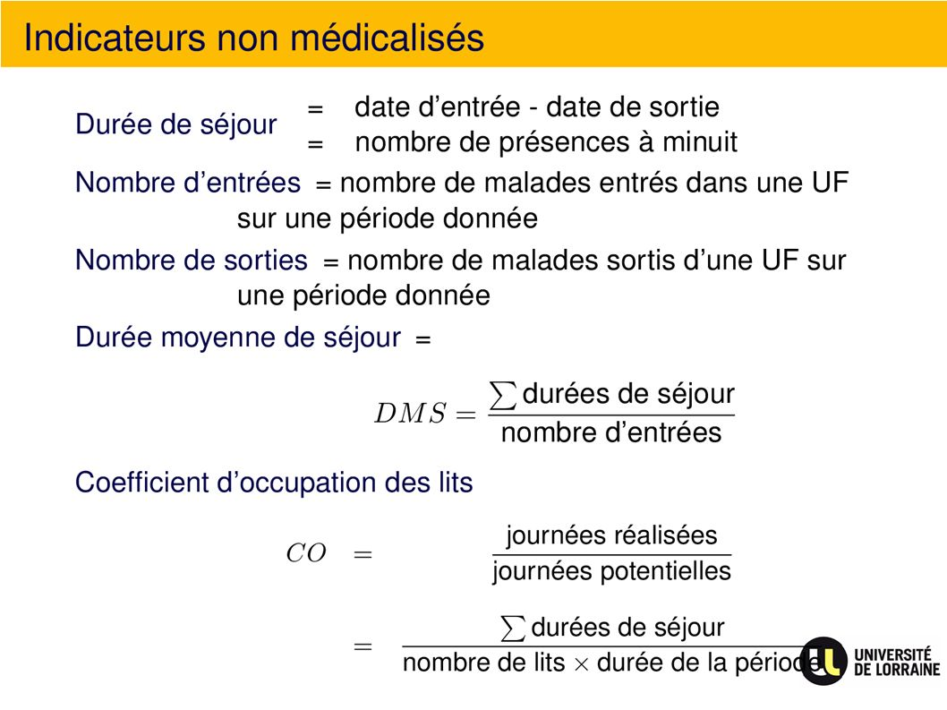 Indicateurs non médicalisés