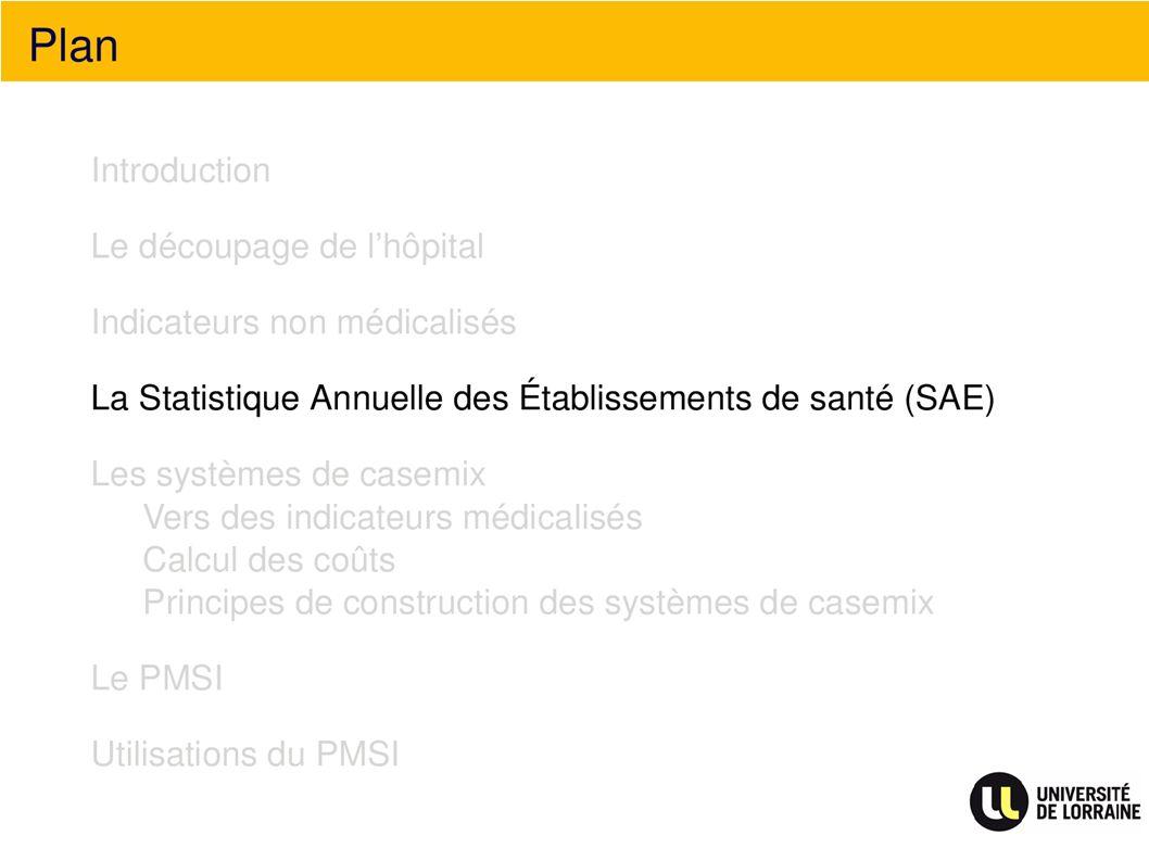 Plan La statistique Annuelle des établissements de santé (SAE)