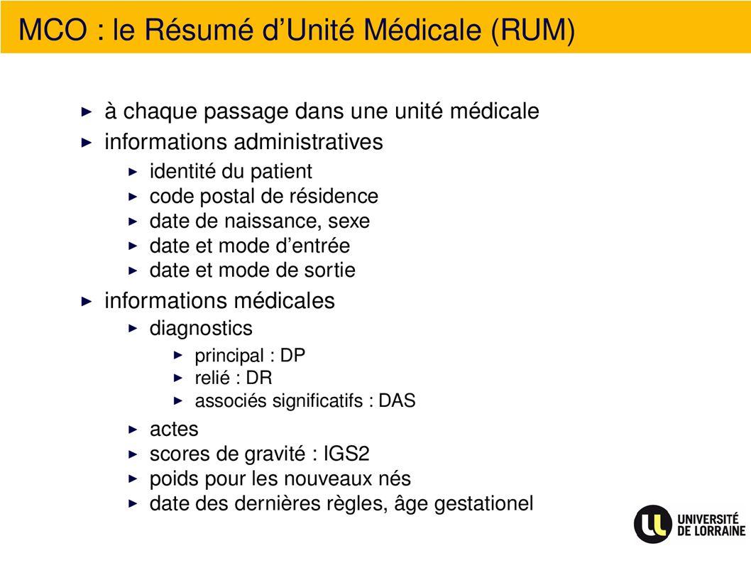 MCO : le Résumé dUnité Médicale (RUM)