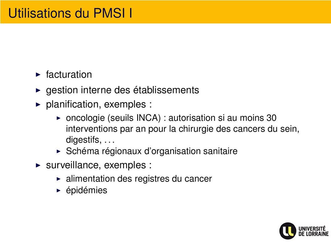 Utilisation du PMSI I