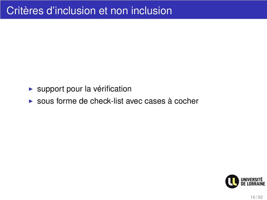 Critères dinclusion et non inclusion