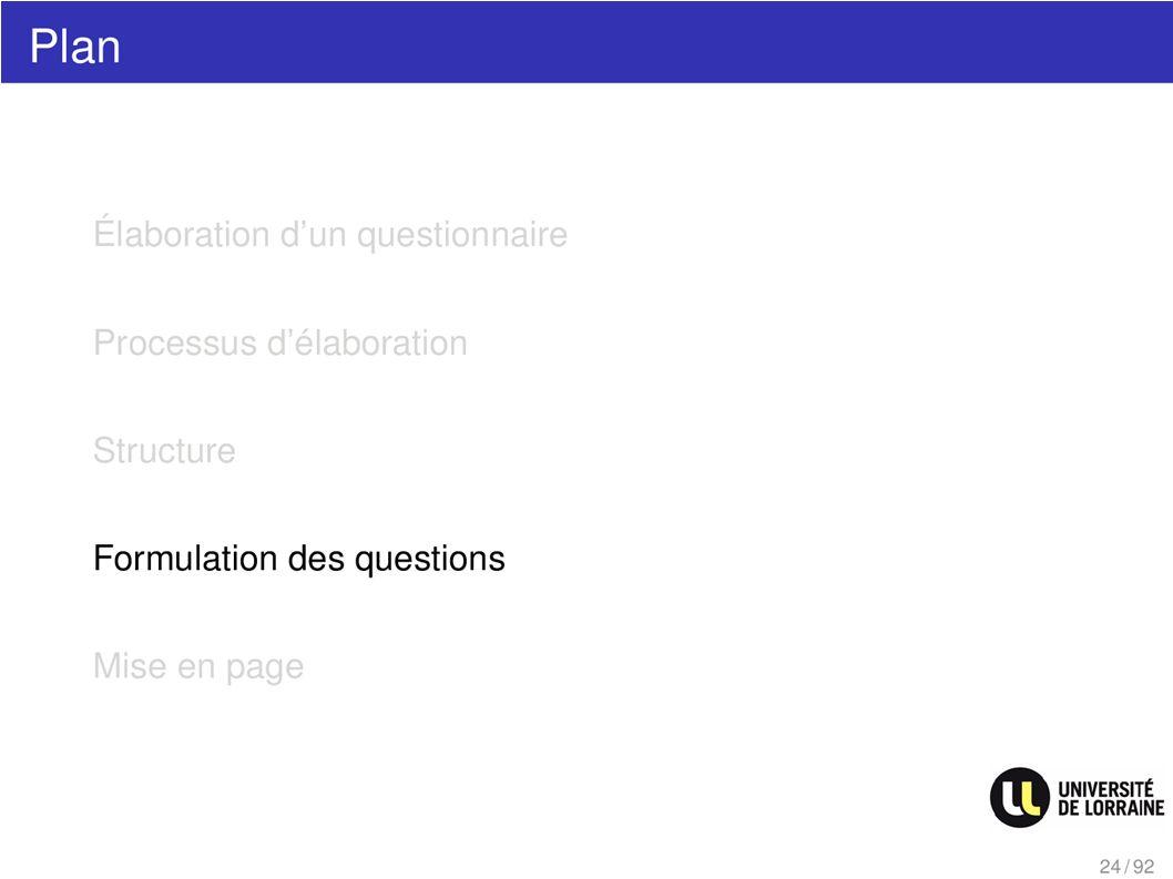 Plan Formulation des questions