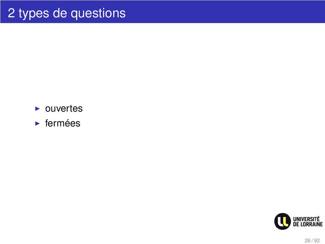 2 types de questions
