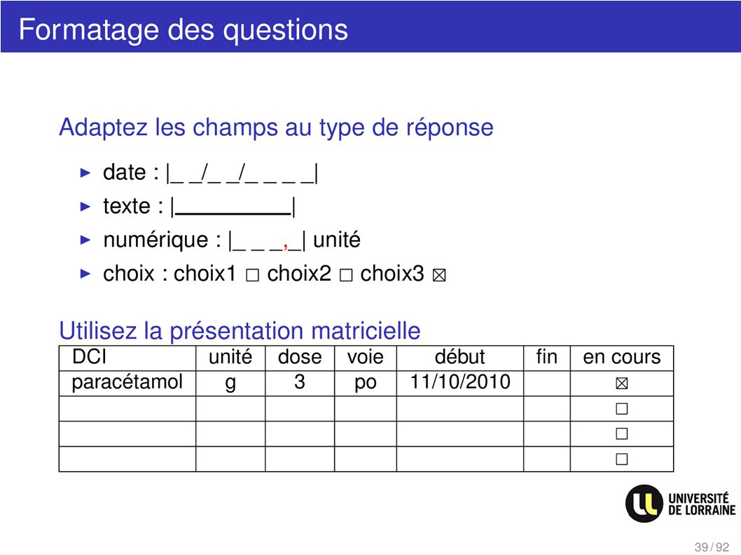 Formatage des questions