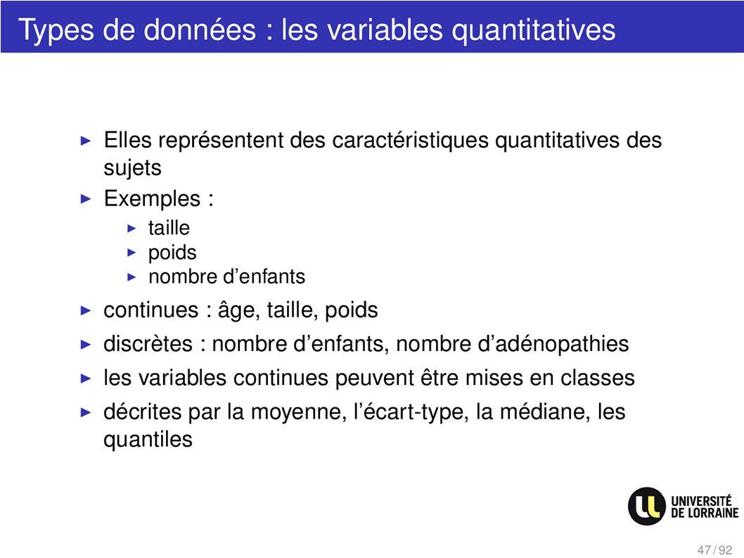 Types de données : les variables quantitatives
