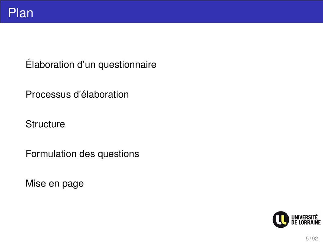Plan Elaboration dun questionnaire