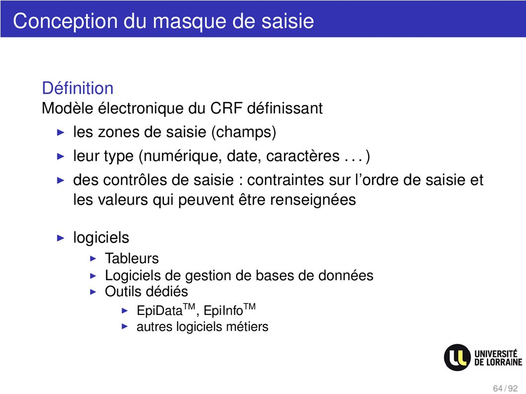Conception du masque de saisie