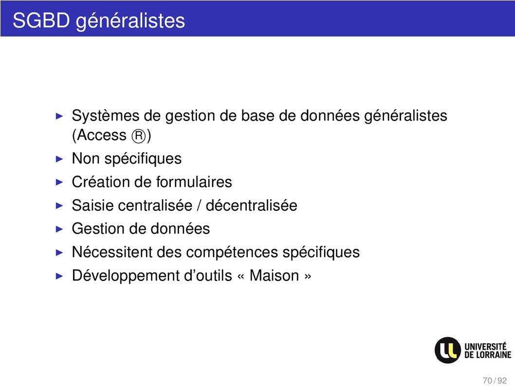 SGBD généralistes