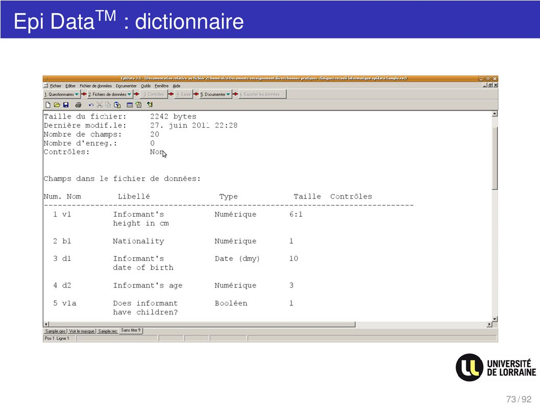 Epi Data : dictionnaire
