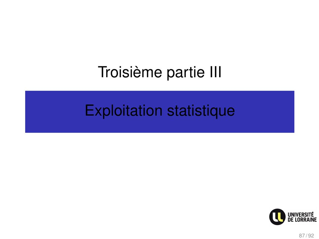 Troisième partie III Exploitation statistique