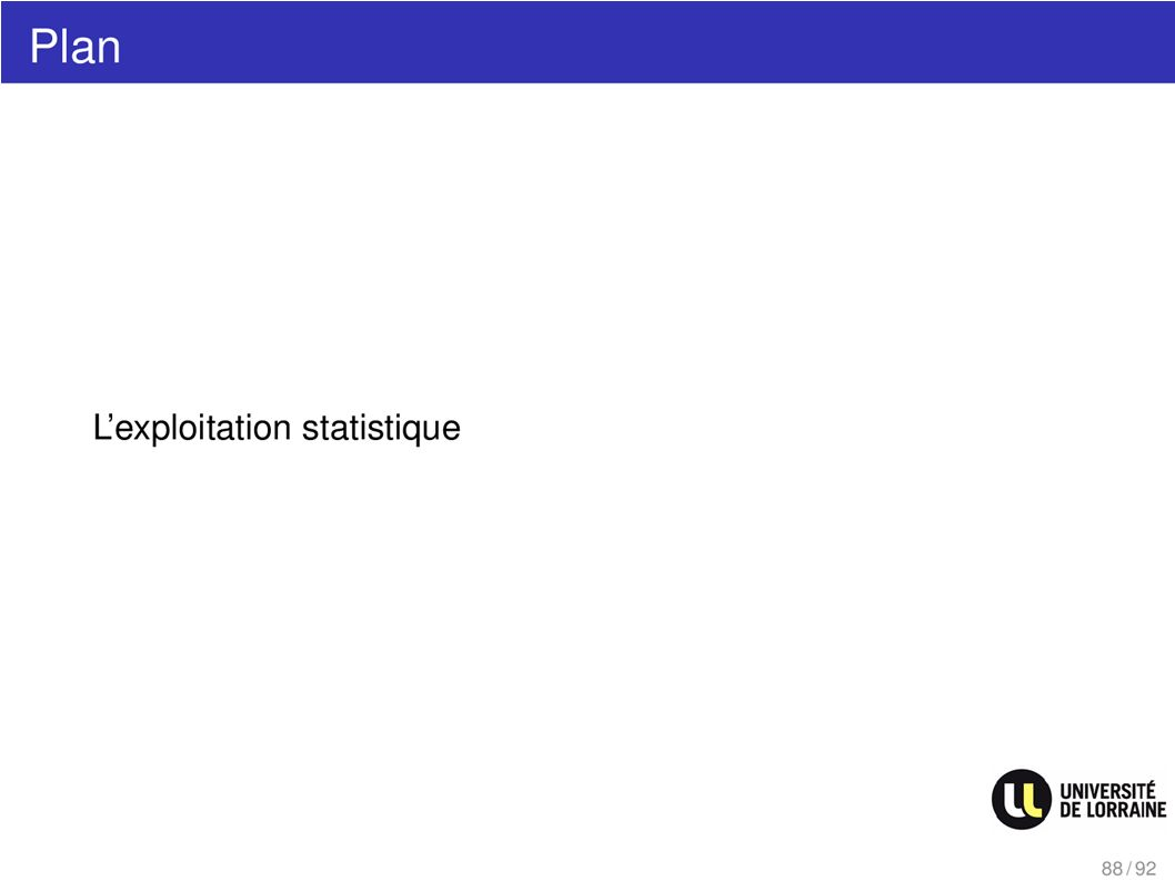 Plan Lexploitation statistique