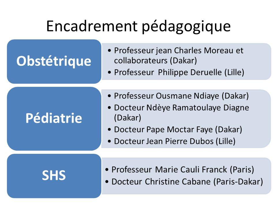 Encadrement pédagogique Professeur jean Charles Moreau et collaborateurs (Dakar) Professeur Philippe Deruelle (Lille) Obstétrique Professeur Ousmane N