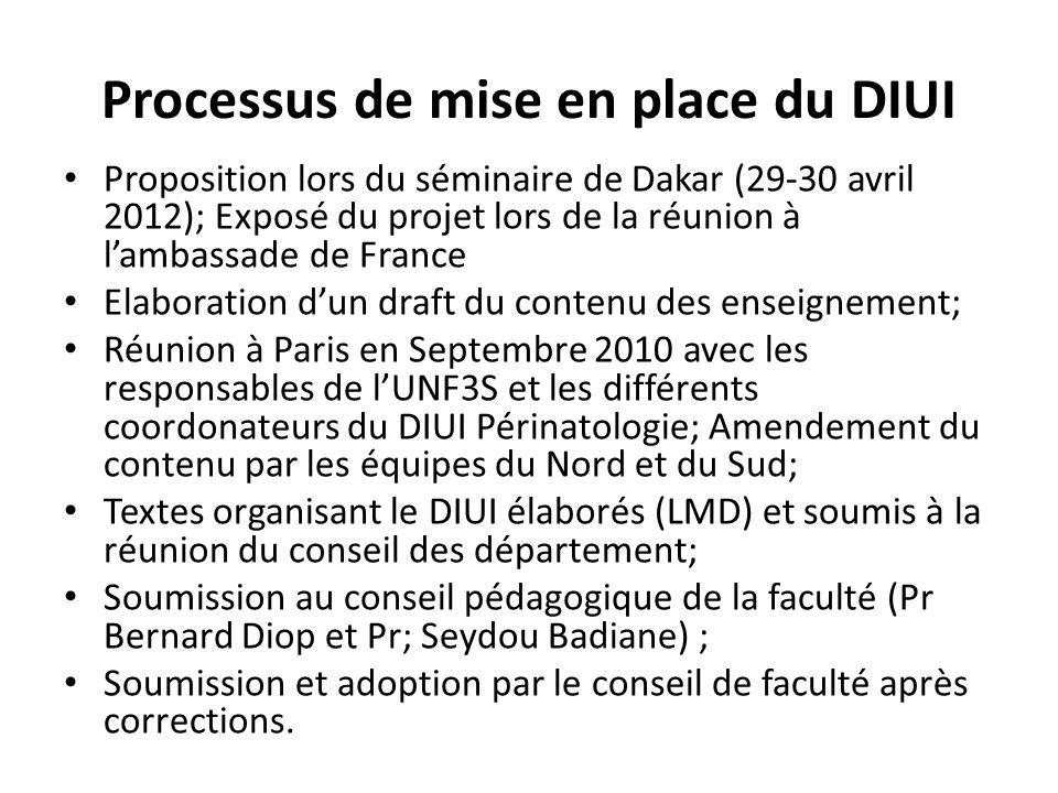 Processus de mise en place du DIUI Proposition lors du séminaire de Dakar (29-30 avril 2012); Exposé du projet lors de la réunion à lambassade de Fran