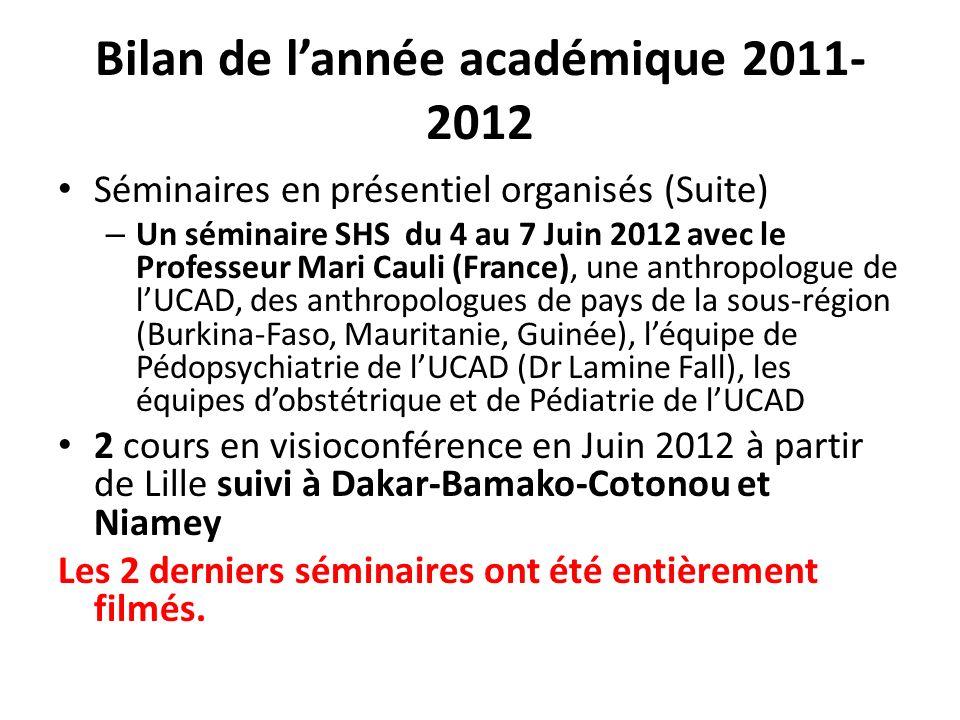 Bilan de lannée académique 2011- 2012 Séminaires en présentiel organisés (Suite) – Un séminaire SHS du 4 au 7 Juin 2012 avec le Professeur Mari Cauli