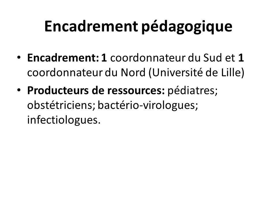 Encadrement pédagogique Encadrement: 1 coordonnateur du Sud et 1 coordonnateur du Nord (Université de Lille) Producteurs de ressources: pédiatres; obs