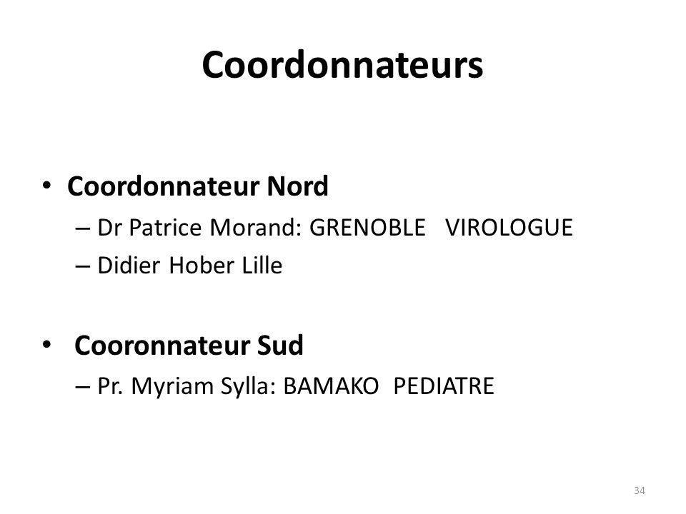 Coordonnateurs Coordonnateur Nord – Dr Patrice Morand: GRENOBLE VIROLOGUE – Didier Hober Lille Cooronnateur Sud – Pr. Myriam Sylla: BAMAKO PEDIATRE 34