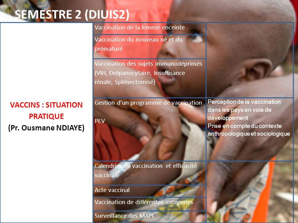 VACCINS : SITUATION PRATIQUE (Pr. Ousmane NDIAYE) Vaccination de la femme enceinte Vaccination du nouveau né et du prématuré Vaccination des sujets im