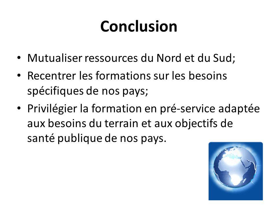 Conclusion Mutualiser ressources du Nord et du Sud; Recentrer les formations sur les besoins spécifiques de nos pays; Privilégier la formation en pré-