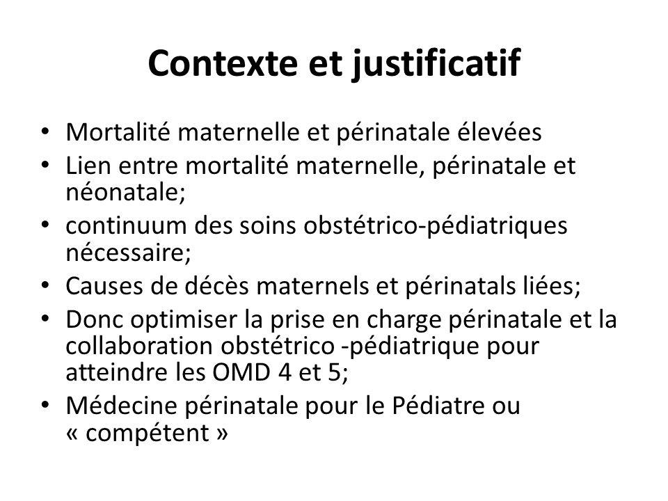Contexte et justificatif Mortalité maternelle et périnatale élevées Lien entre mortalité maternelle, périnatale et néonatale; continuum des soins obst