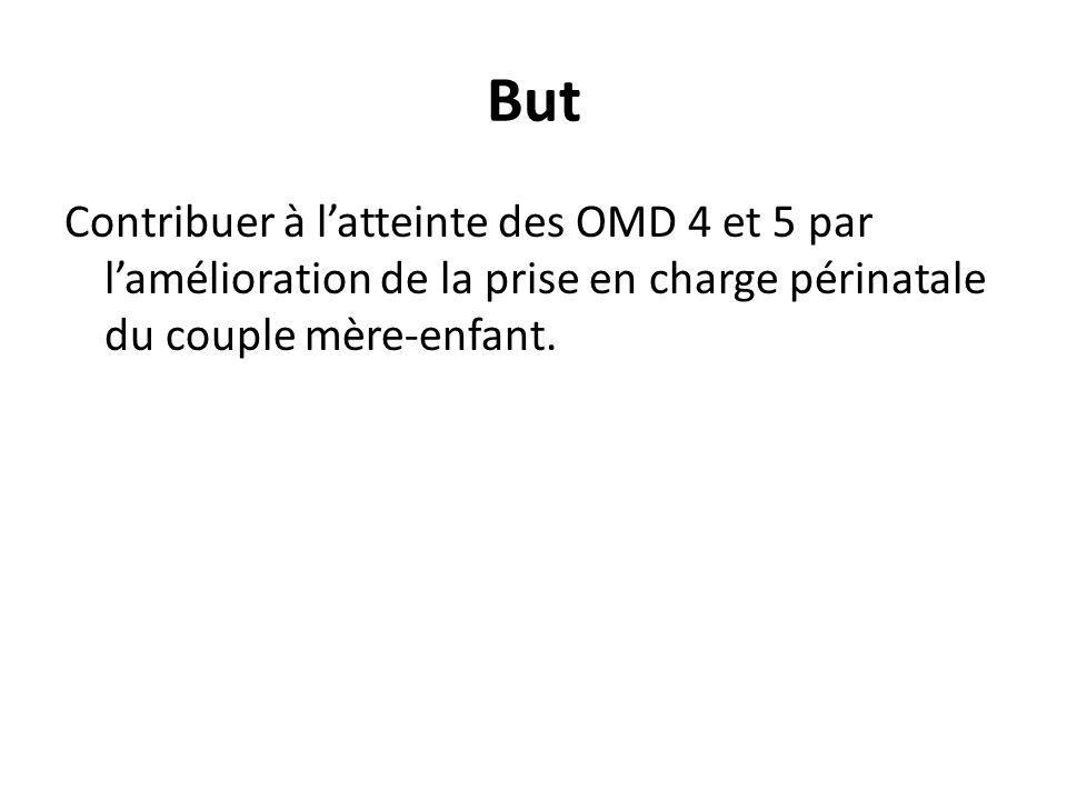 But Contribuer à latteinte des OMD 4 et 5 par lamélioration de la prise en charge périnatale du couple mère-enfant.