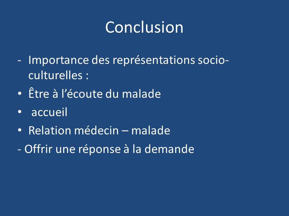 -Importance des représentations socio- culturelles : Être à lécoute du malade accueil Relation médecin – malade - Offrir une réponse à la demande Conc