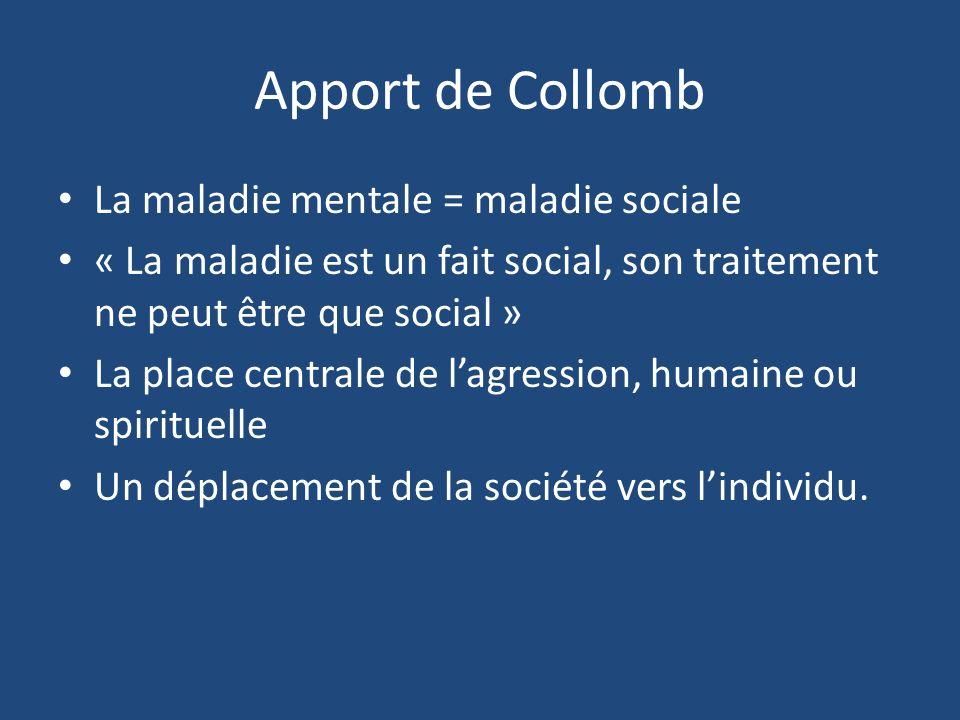 Apport de Collomb La maladie mentale = maladie sociale « La maladie est un fait social, son traitement ne peut être que social » La place centrale de
