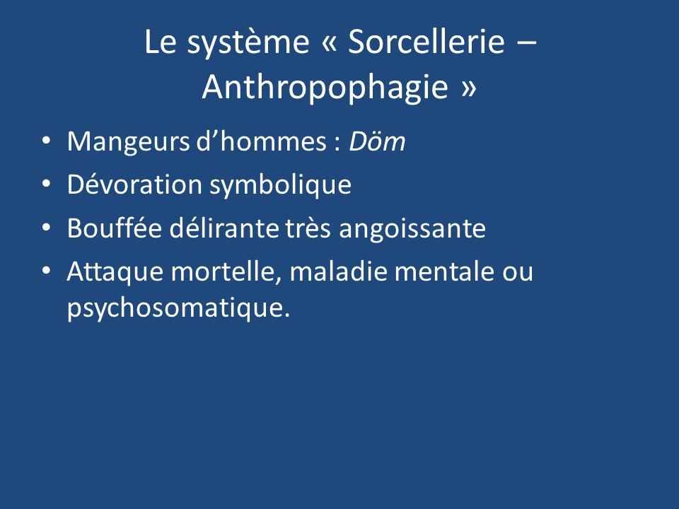 Le système « Sorcellerie – Anthropophagie » Mangeurs dhommes : Döm Dévoration symbolique Bouffée délirante très angoissante Attaque mortelle, maladie